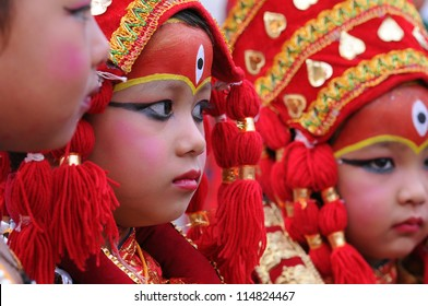 KATHMANDU- SEP 28: unidentified children dressed as Kumari at Indra Jatra celebration on September 28, 2012 in Kathmandu, Nepal. Kumari is a girl believed to be the incarnation of Hindu goddess Durga.