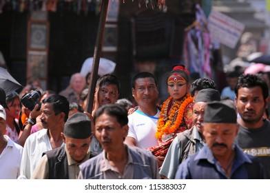 KATHMANDU- SEP 29: Nepalese people celebrate Indra Jatra festival on September 29, 2012 in Kathmandu, Nepal. Indra Jatra is one of the important festivals of Nepal celebrating the end of the monsoon.