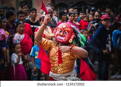 kathmandu,Nepal - Aug 17,2018: Lakhey Dance is one of the most popular dances of Nepal. Performers wearing a Lakhe costume and mask perform dances on the streets and city squares during festivals.