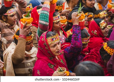 Kathmandu,Nepal - Feb 12,2018: Hindu devotees with bare foot and holy water pots returning back  after offering Holy Water to Lord Shiva. This is on the occasion of Bol Bom and Mahashivaratri Festival