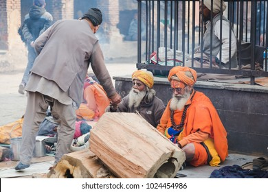 Kathmandu,Nepal - Feb 12,2018: Sadhus or Holy Men at Mahashivaratri Festival in Kathmandu Nepal. Mahashivaratri is one of the biggest festivals of Hindus,dedicated to Lord Shiva.
