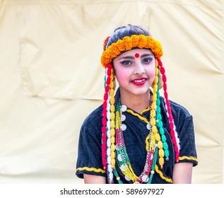 Kathmandu,Nepal - Feb 27,2017: Portrait shot of Nepalese dancer in traditional Nepali attire at Magar Samaj program in Kathmandu,Nepal.