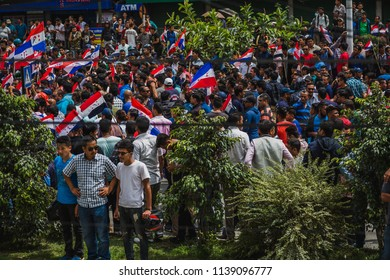 Kathmandu,Nepal - Jul 21, 2018: A protest rally organised in Kathmandu in support of Dr Govinda KC, who has been staging his 15th indefinite hunger strike seeking reforms in country's Medical Sector.
