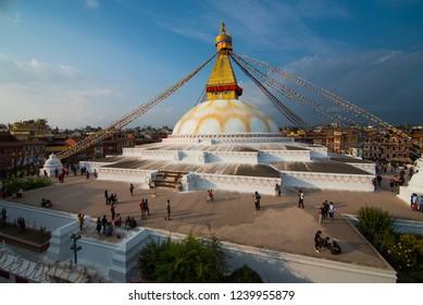 Kathmandu,Nepal - October 18 2018 :  View of Bodhnath stupa, one from the best buddhist stupas on the world, the biggest stupa in Kathmandu city, Nepal