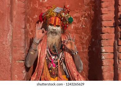 Kathmandu,Nepal - October 18 2018 : Yogi sitting in prayer in Pashupatinath Temple Nepal of Kathmandu