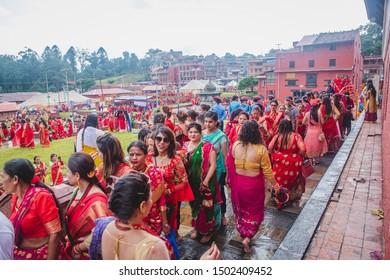 Kathmandu,Nepal - Sep 2,2019 : Large Group of Nepali Hindu Women waiting in line to worship at Pashupatinath Temple  on the occassion of Teej Festival in Kathmandu.