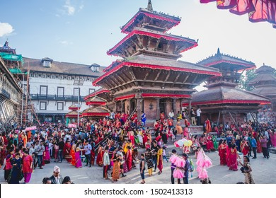 Kathmandu,Nepal - Sep 2,2019 : Nepali People enjoying at Teej Festival in Kathmandu. During Teej,Hindu women fast even without having water and pray for their husband's good health and long life.