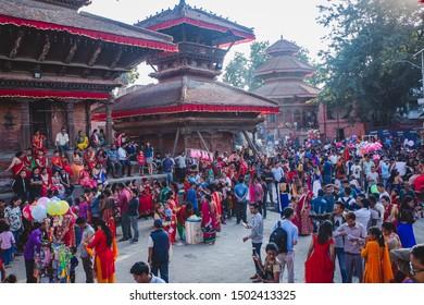 Kathmandu,Nepal - Sep 2,2019 : Nepali People enjoying at Teej Festival in Kathmandu. During Teej,Hindu women fast even without having water and pray for their husband's good health and long life.