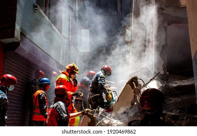 KATHMANDU,NEPAL-MAY 01, 2015: Rescue team from different countries help Nepal government in the rescue operation at Gongabu, Kathmandu, Nepal - damaged by powerful earthquake on 25 April 2015.