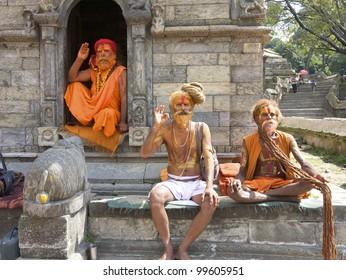 KATHMANDU-OCT 7: Sadhu Holy men at Pashupatinath Temple in Kathmandu, Nepal on October 7, 2008. The two primary sectarian divisions in sadhu community are Shaiva sadhus and Vaishnava sadhus.