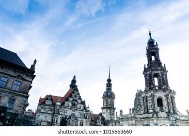 Katholische Hofkirche in Dresden, Germany. Landmark 18th-century structure by Gaetano Chiaveri