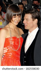Katie Holmes, in a Boucheron necklace, and Tom Cruise at departures for Annual Opening Night Gala of Superheroes Fashion and Fantasy, Metropolitan Museum of Art Costume Institute, NY, May 05, 2008