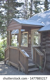Katmai National Park, Alaska. U.S.A. June 26-28, 2019. Brooks Lodge-once a 'fly-in' fishing camp is now a world-class lodge for coastal brown bear (Ursus Arctos) viewing.  16-cabins, dining hall,
