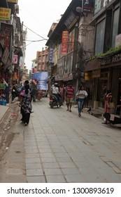 katmandu / Nepal - August 27 2018: The busy streets of Katmandu, Nepal.