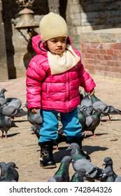 KATMANDU, NEPAL - MAR 6, 2017: Unidentified Chhetri little girl in pink jacket and a hat walks around pigeons. Chhetris is the most populous ethnic group of Nepal