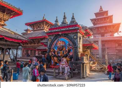 KATMANDU, NEPAL - November 19, 2017: Durbar Square in Kathmandu people go, Nepal