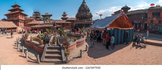 KATMANDU, NEPAL - November 19, 2018: Durbar Square in Kathmandu people go, Nepal