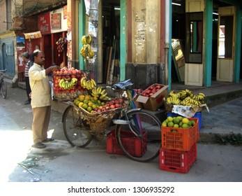 Katmandu/Nepal - 04/20/2010: street life in Kathmandu