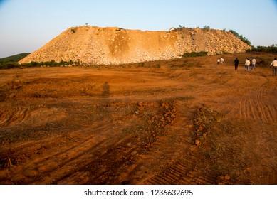 Katni / India 13 October 2018 The view of wastage marble quarry near Katni in Madhya Pradesh India