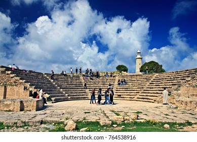 "KATO PAPHOS, CYPRUS- April 7, 2017. Students, ""rehearsing"" at the Roman Odeon in the Archaeological Park of Paphos (UNESCO World Heritage Site)."