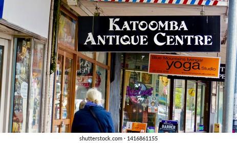 Katoomba Antique Centre sign and shop, Katoomba St, Katoomba, New South Wales, Australia on 5 June 2019.