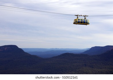 KATOOMBA, AUS - OCT 21 2016:Katoomba Scenic Skyway suspended 270m above the ancient Jamison Valley. It travels across the gorge above Katoomba Falls in the blue mountains of New South Wales, Australia