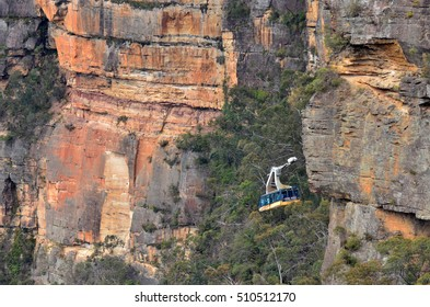 KATOOMBA, AUS - OCT 21 2016:Katoomba Scenic World Cableway descends into the Jamison Valley is the steepest and largest aerial cable car in the Southern Hemisphere.