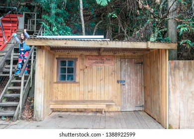 KATOOMBA, AUSTRALIA - April 4, 2019: Wooden hut of historic Katoomba Coal Mining office in the Blue Mountains National Park, New South Wales Australia.
