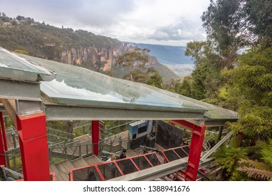 KATOOMBA, AUSTRALIA - April 4, 2019: Katoomba Scenic Railway, Blue Mountains National Park, New South Wales.