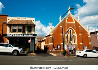 KATOOMBA, AUSTRALIA - April 5, 2018: Local shop & church on Katoomba Street in the touristic Blue Mountains