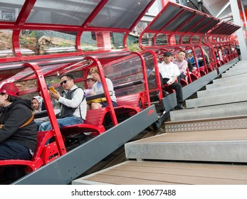 KATOOMBA, AUSTRALIA - FEB 05, 2014: Passengers sit in the scenic railway train in Blue Mountains, New South Wales, Australia