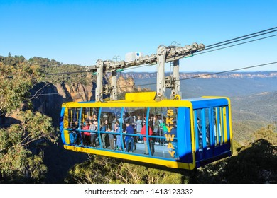 """Katoomba / Australia - May 26 2019: A Gondola Lift Operated by """"Scenic World"""" Rides High Above the Jamison Valley in the Blue Mountains"""