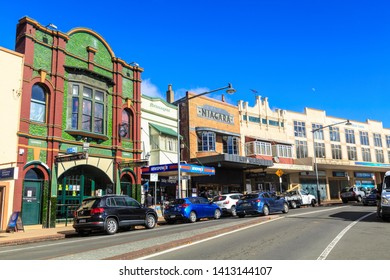 Katoomba / Australia - May 26 2019: Pubs and Clubs in Historic Buildings. Bathurst Road in Katoomba's Commercial District