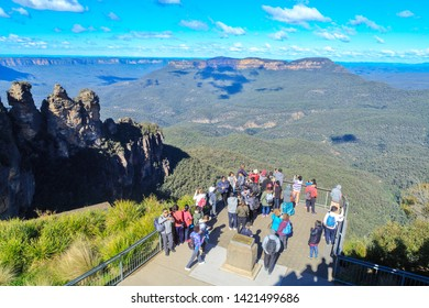 Katoomba / Australia - May 26 2019: Tourists Gaze at a Spectacular View of the Blue Mountains From the Queen Elizabeth Lookout, Echo Point