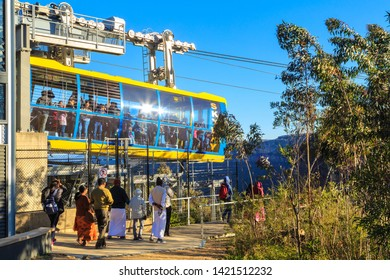 """Katoomba / Australia - May 26 2019: A Cable Car Operated by """"Scenic World"""" Lets Passengers Out After Crossing a Valley in the Blue Mountains"""
