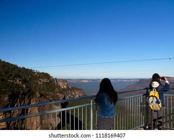 Katoomba, New South Wales, Australia. June 2018. People enjoying the views at Katoomba in the Blue Mountains west of Sydney. This image was taken while taking the Katoomba Falls Round Walk.