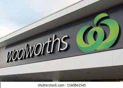 Katoomba, New South Wales, Australia. August 2018. The Woolworths logo on display at the store in Katoomba, NSW.