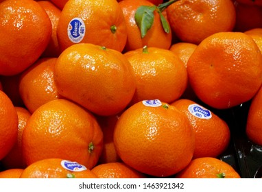 Katoomba, New South wales, Australia. July 2014. A view of mandarins on display at the entrance to a Coles Supermarket in the Blue Mountains west of Sydney.