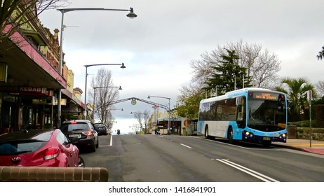 Katoomba Street, Katoomba, New South Wales, Australia on 5 June 2019. Bus pulling into a bus stop.