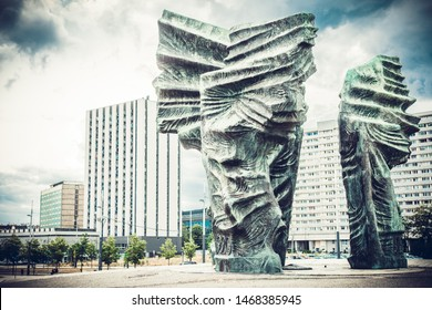 Katowice, July 14, 2019, Poland - Monument to Silesian Insurgents. Monument that is a showcase of the city of Katowice and Upper Silesia. Monument as a sign of Silesia in honor of the insurgents.