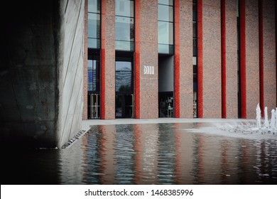 Katowice, July 14, 2019, Poland - NOSPR building. National Polish Radio Symphony Orchestra in Katowice. Red building renovated as a showcase of the city of Katowice.