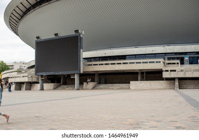 Katowice, July 14, 2019. View of the newly built architecture around the saucer in Katowice. SPODEK sports and entertainment arena, the venue of world competitions. Popular places in Katowice.
