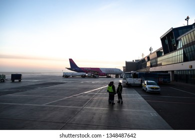 KATOWICE, MARCH 23, 2019: Wizzair airline aircraft in Pyrzowice airport on 23 March, 2019 in Katowice, Poland.