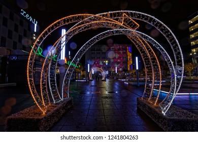 Katowice, Śląskie, Poland - 01/02/2018: Christmas decorations at the Market Square