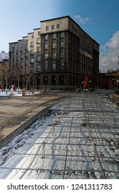 Katowice, Śląskie, Poland - 01/22/2018: Downtown Katowice,market square with seats and fountains secured for winter.