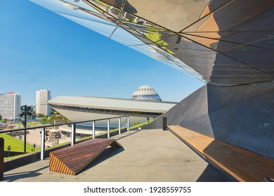 """Katowice, Poland - 03 20 2018: abstract architecture of sports and entertainment hall """"spodek"""""""