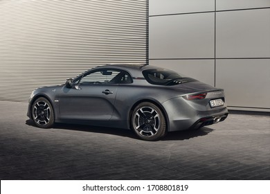 Katowice, Poland - 03.23.2019: Alpine A110 sports car with centrally mounted 1.8 l 252 hp engine