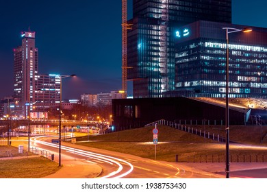 Katowice, Poland - 06 March 2021: Evening view on a business district, Katowice Poland