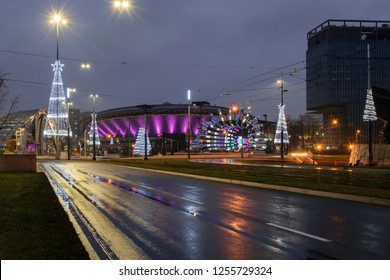 Katowice, Śląskie, Poland - 24/12/2017: Christmas decorations at the Market Square