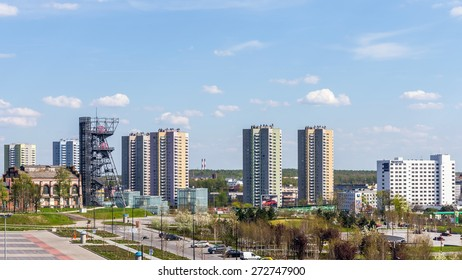 """KATOWICE, POLAND - APRIL 25, 2015: Cityscape with the Silesian Museum arranged in the former coal mine """"Katowice"""". The complex combines old mining infrastructure with modern dynamic architecture."""